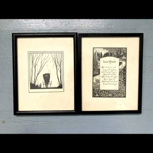 Two vintage pen and ink friendship nature drawings